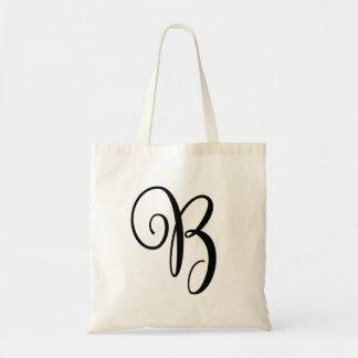 Monogram Letter B Budget Tote-Canvas Tote Bag