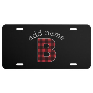 Monogram Letter B - buffalo plaid red black License Plate
