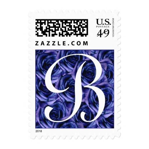 Monogram Letter B Dark Blue Roses Stamp