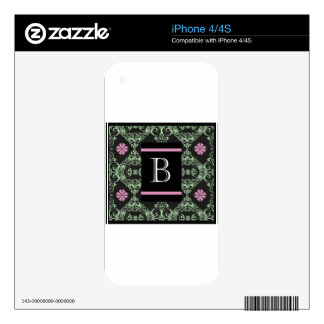 Monogram letter B Decals For iPhone 4