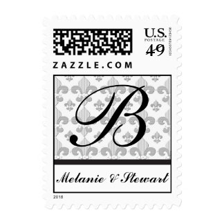 Monogram Letter B Fleur de Lys Wedding Stamp