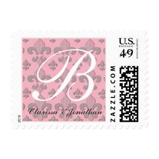 Monogram Letter B Fleur de Lys Wedding Stamp