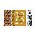 Monogram Letter B Gold Roses Stamp