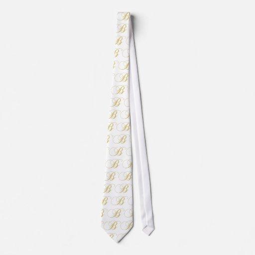 Monogram Letter B Golden Single Tie