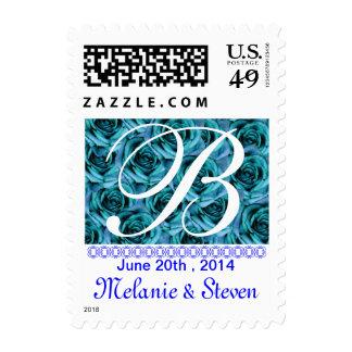 Monogram Letter B Ice Blue Roses Stamp