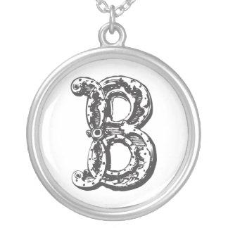 Monogram Letter B Initial Round Pendant Necklace