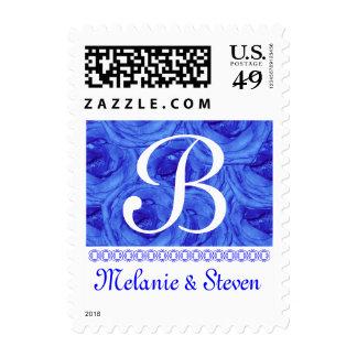 Monogram Letter B Light Blue Roses Stamp