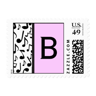 Monogram Letter B Music Notes Stamp