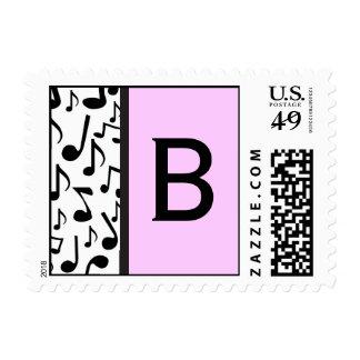 Monogram Letter B Music Notes Stamp