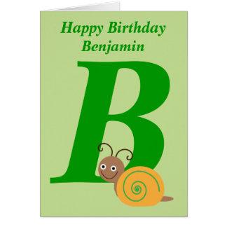 Monogram letter B personalised name kids card