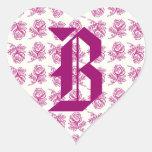 Monogram Letter B Pink Roses Sticker