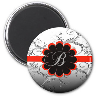 Monogram Letter B Red 2 Inch Round Magnet