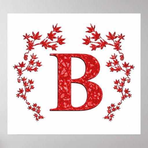 Monogram Letter B Red Leaves Posters