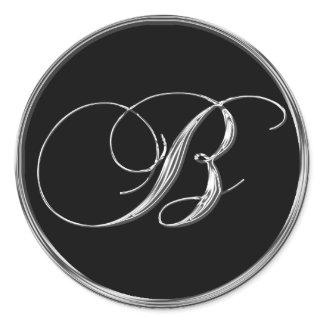 Monogram Letter B Sliver On Black Wedding Seal sticker