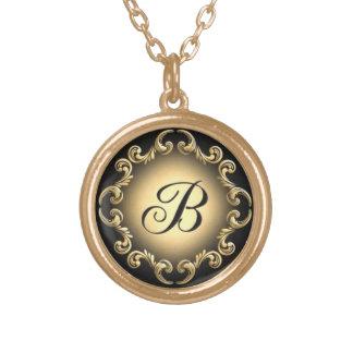Monogram Letter B Small Gold Necklace Pendant