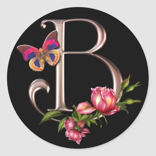 monogram letter b with roses and butterfly classic round sticker