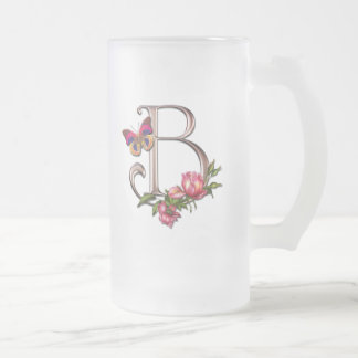 MONOGRAM LETTER B WITH ROSES AND BUTTERFLY 16 OZ FROSTED GLASS BEER MUG