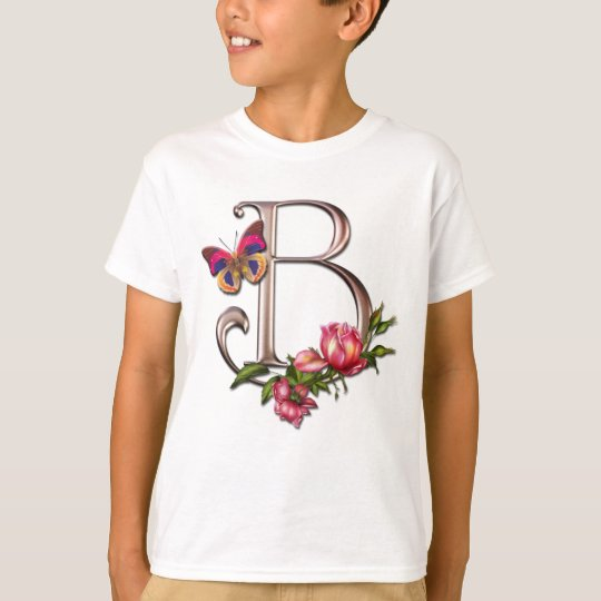 MONOGRAM LETTER B WITH ROSES AND BUTTERFLY T-Shirt