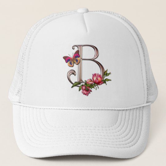 MONOGRAM LETTER B WITH ROSES AND BUTTERFLY TRUCKER HAT