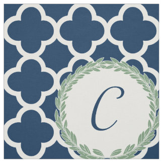 Monogram Letter Blue with Green Wreath Quatrefoil Fabric