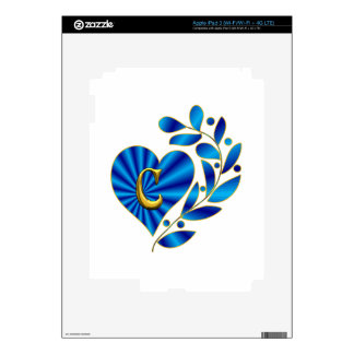 Monogram Letter C Blue Heart Decal For iPad 3
