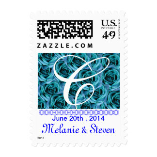 Monogram Letter C Ice Blue Roses Stamp
