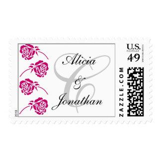 Monogram Letter C Pink Roses Stamp