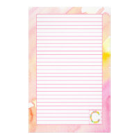 Monogram Letter C Pink Watercolor Flowers Lined Stationery