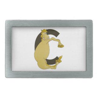 Monogram  Letter C Pony Rectangular Belt Buckle
