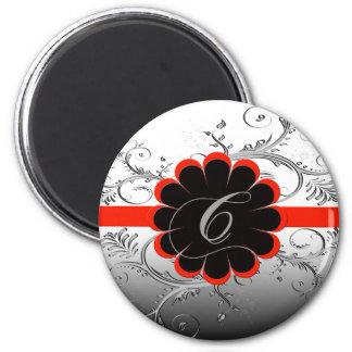 Monogram Letter C Red 2 Inch Round Magnet