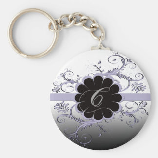 Monogram Letter C Violet Keychain