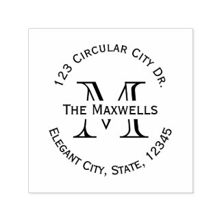 Monogram Letter Circle Address Stamp