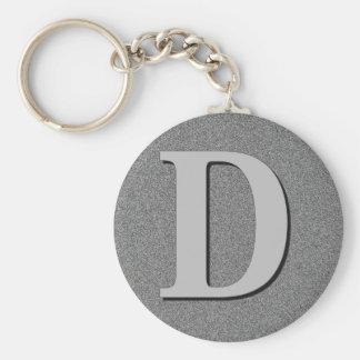 Monogram Letter D Basic Round Button Keychain