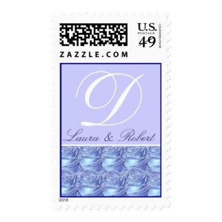 Monogram Letter D Blue Roses Stamp
