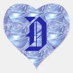 Monogram Letter D Blue Roses Sticker