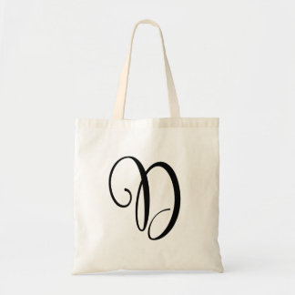 Monogram Letter D Budget Tote-Canvas Tote Bag