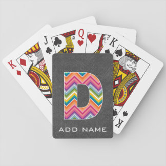 Monogram Letter D - Chalkboard Chevron Pattern Playing Cards