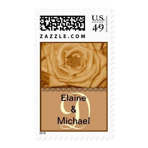 Monogram Letter D Gold Roses Stamp