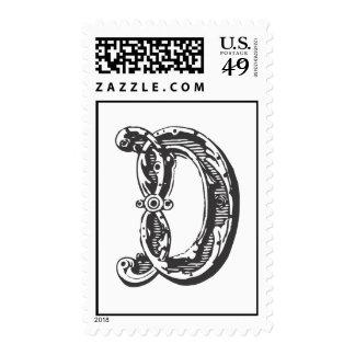Monogram Letter D in Black Postage Stamps