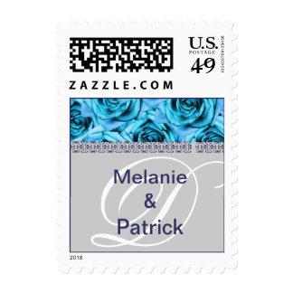 Monogram Letter D Light Blue Roses Stamp