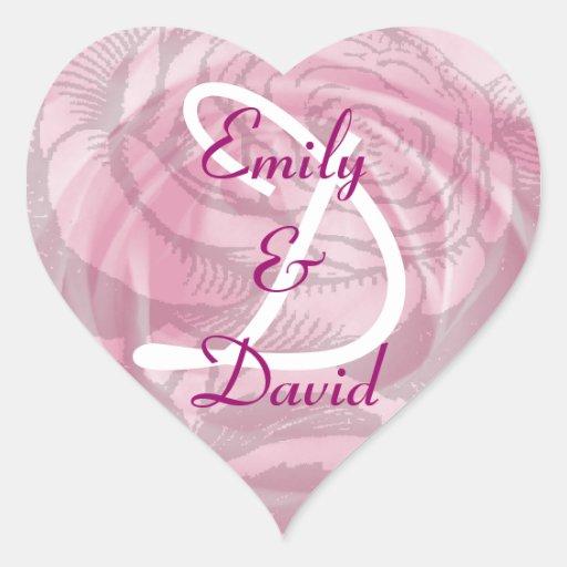 Monogram Letter D Pink Rose Sticker