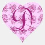 Monogram Letter D Pink Roses Heart Sticker