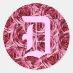 Monogram Letter D Pink Roses Sticker