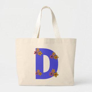 Monogram Letter D Pretty Tote Bag Flower