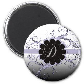 Monogram Letter D Violet 2 Inch Round Magnet
