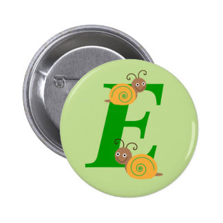 Monogram letter E brian the snail kids button, pin