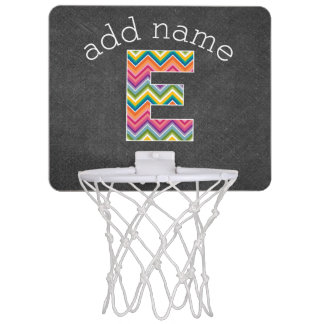 Monogram Letter E - Bright Chevron Chalkboard Mini Basketball Hoop