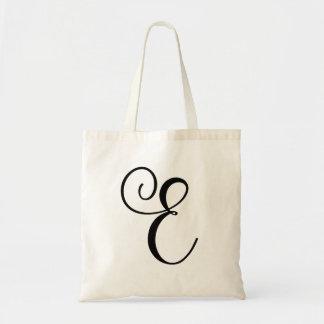Monogram Letter E Budget Tote-Canvas Tote Bag