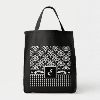 Monogram Letter E Elegant Floral Damask Tote Bag