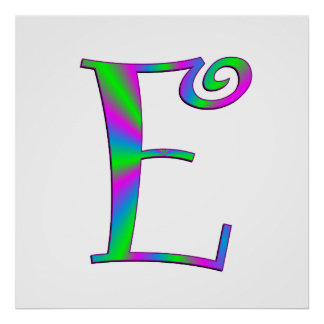 Monogram Letter E Fun Print